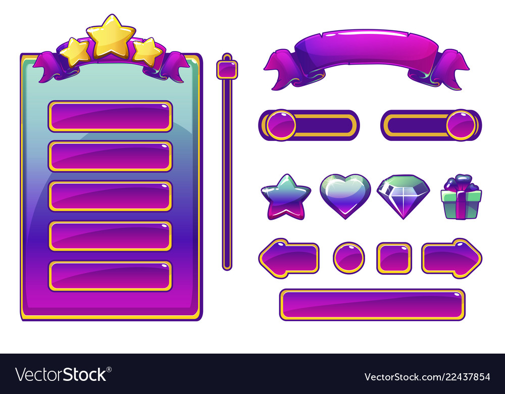 Cartoon purple assets and buttons for ui game