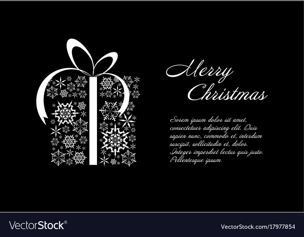Christmas Card Black And White Template Royalty Free Vector