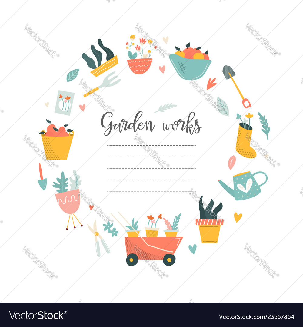 Circle of garden tools and text place