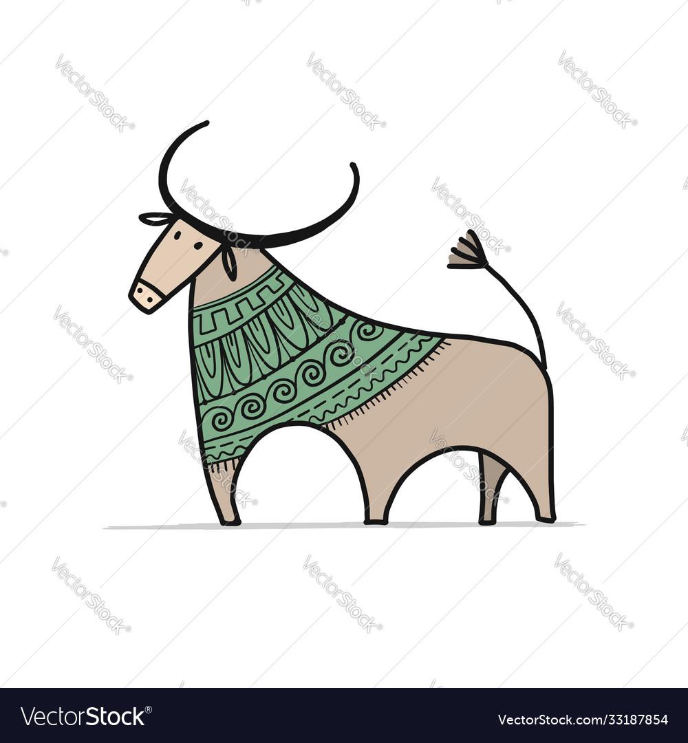 Funny sketch bull lunar horoscope sign happy new