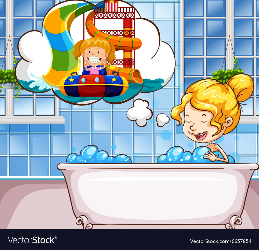 Girl daydreaming in the bathtub