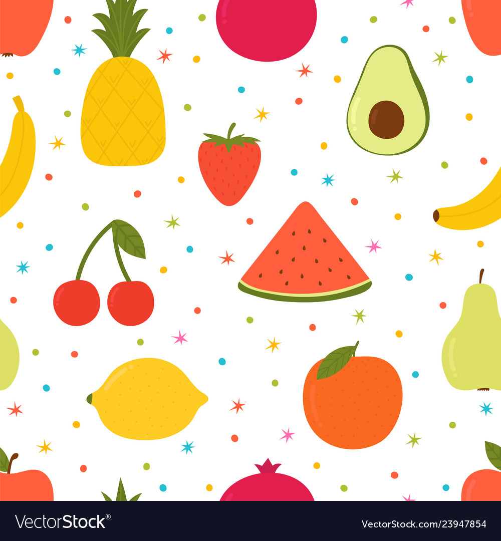 Hand drawn seamless pattern with cartoon fruits