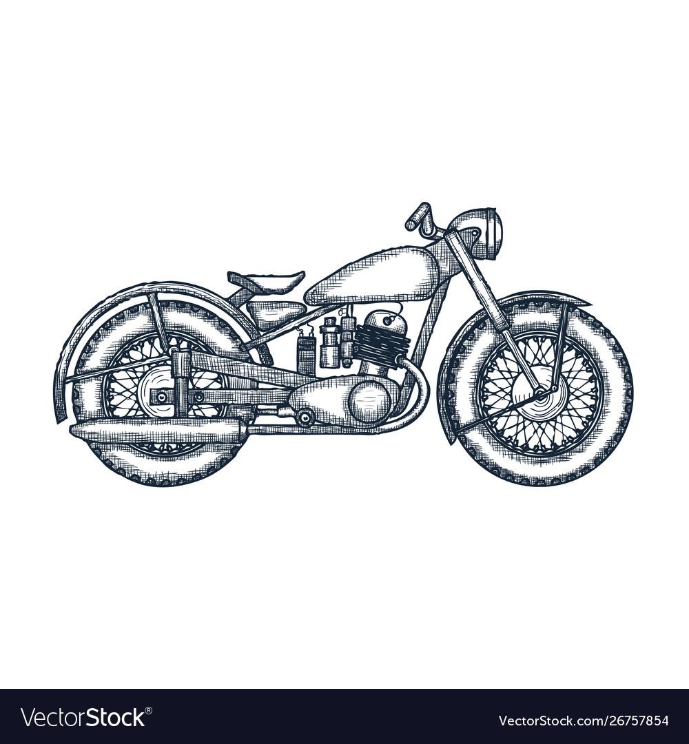 Hand drawn vintage motorcycle logo design