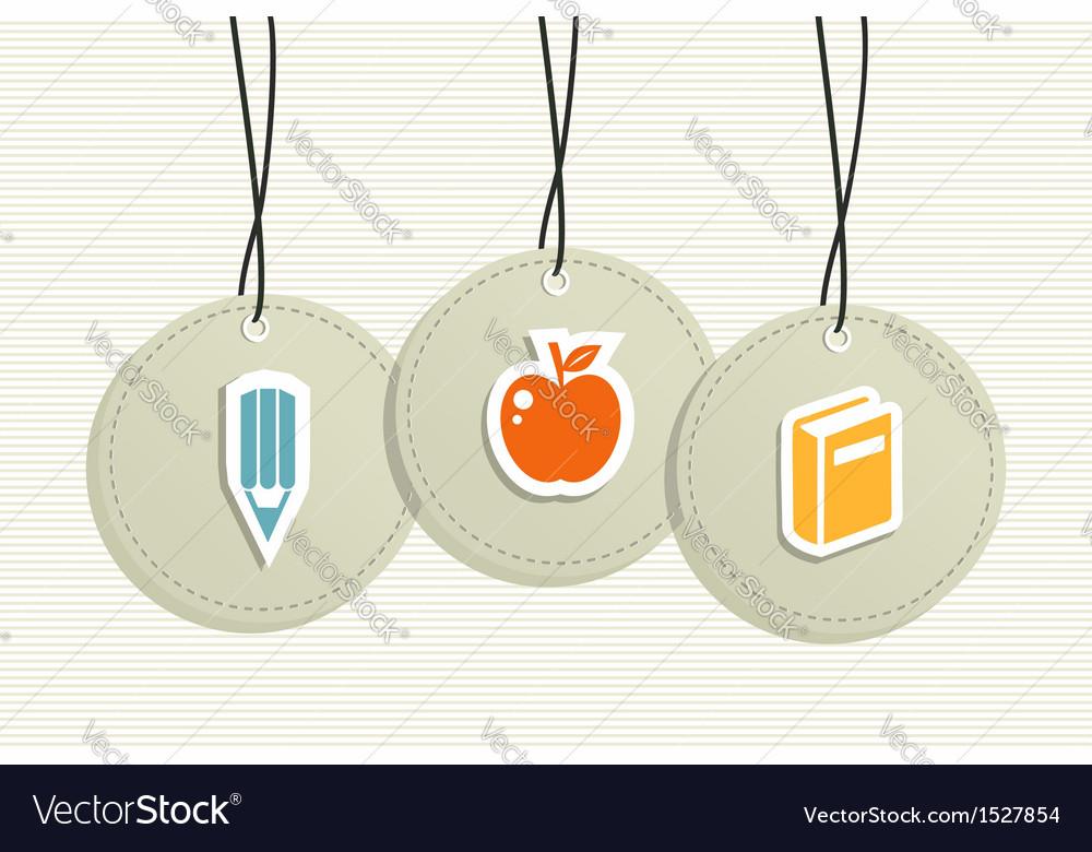 Hanging school badges elements vector image