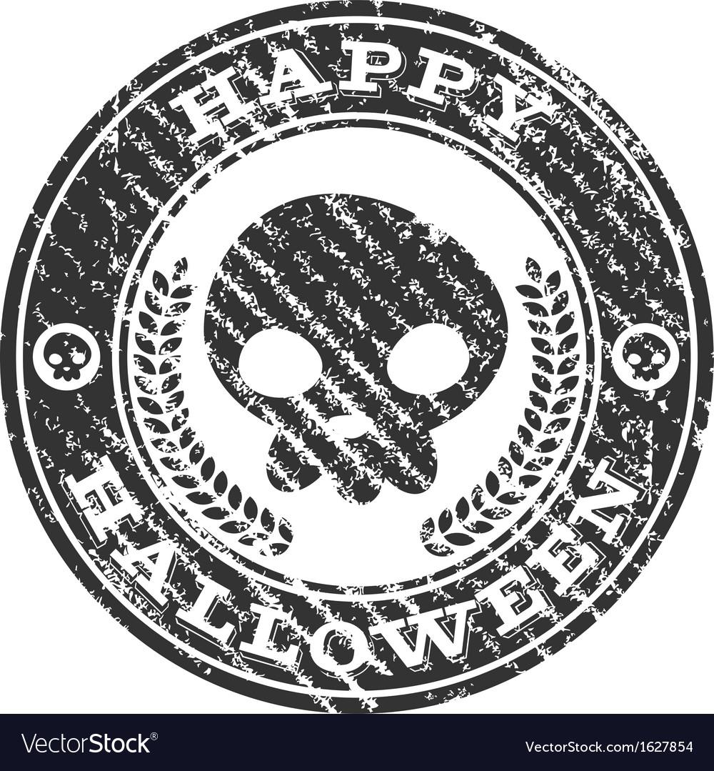 Happy Halloween Skull Rubber Stamp vector image on VectorStock