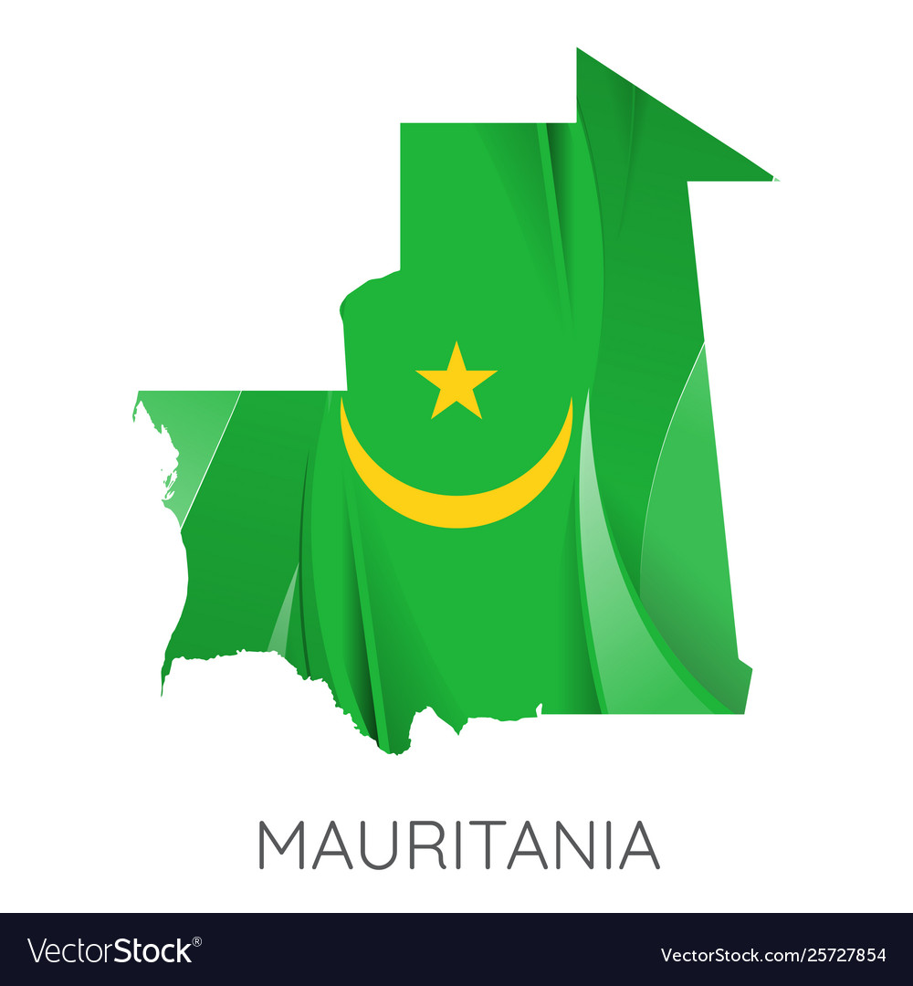 Map mauritania with an official flag on white
