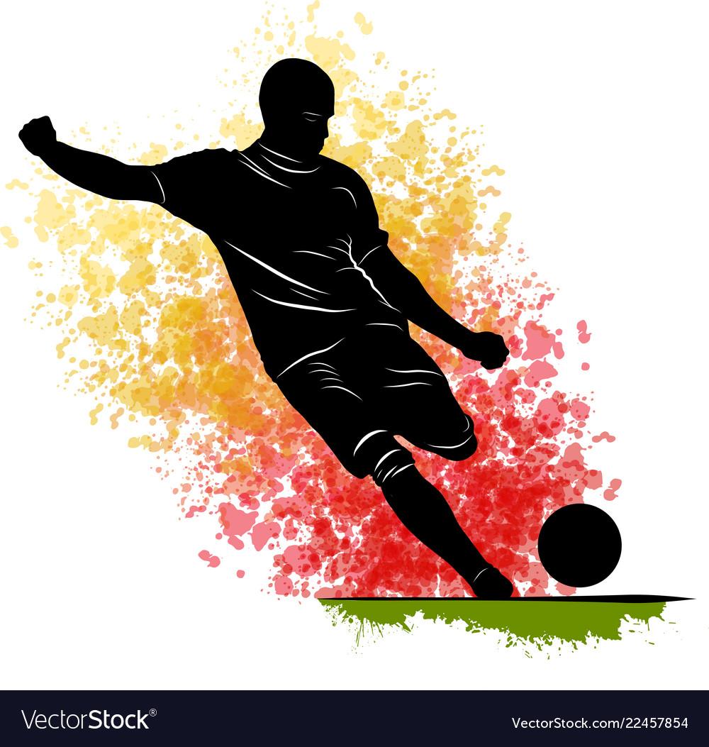 One caucasian soccer player man playing kicking in