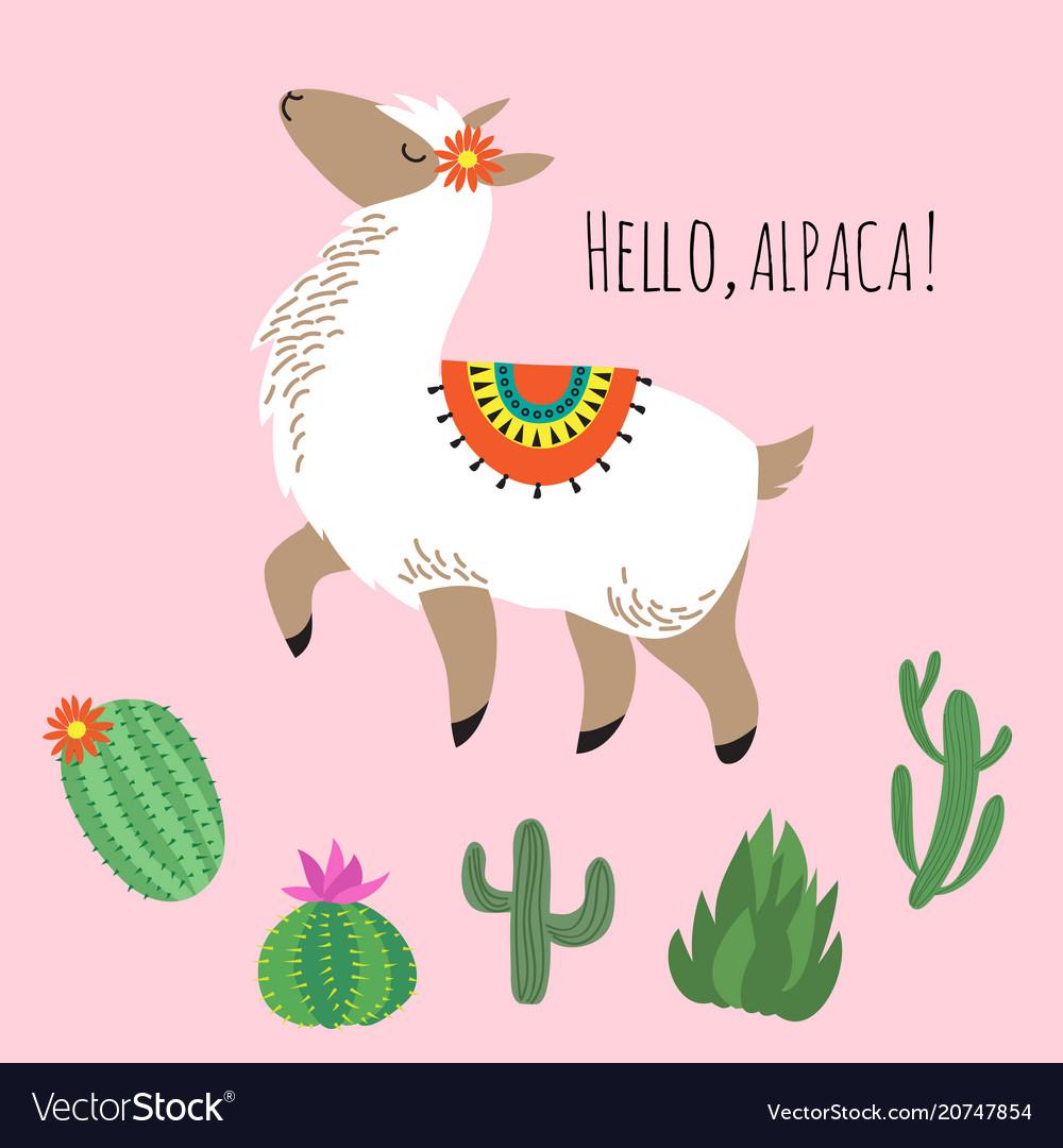 Proud awesome lama and cactus - hello alpaca card