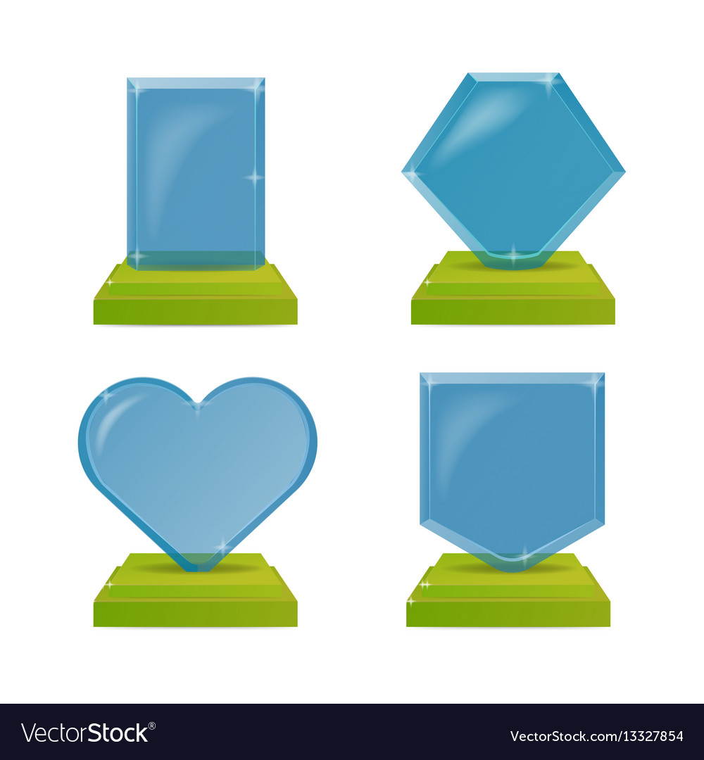 Realistic blue and green glass trophy awards
