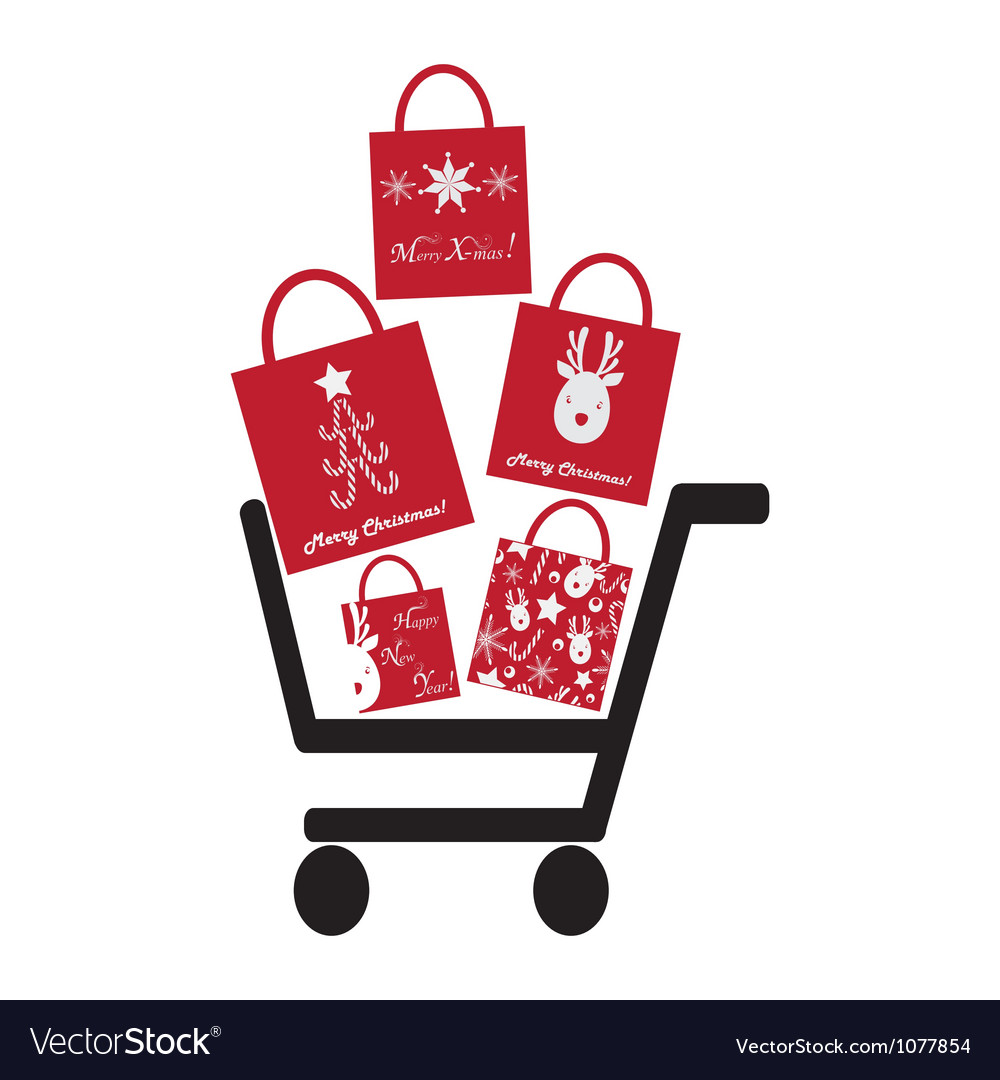 Shoping Crt with Christmas Bags vector image