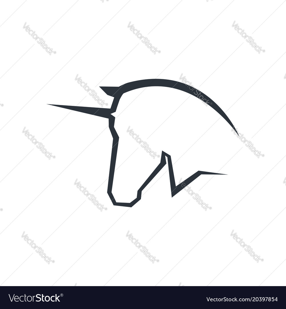 Unicorn Head Logo Symbol Royalty Free Vector Image
