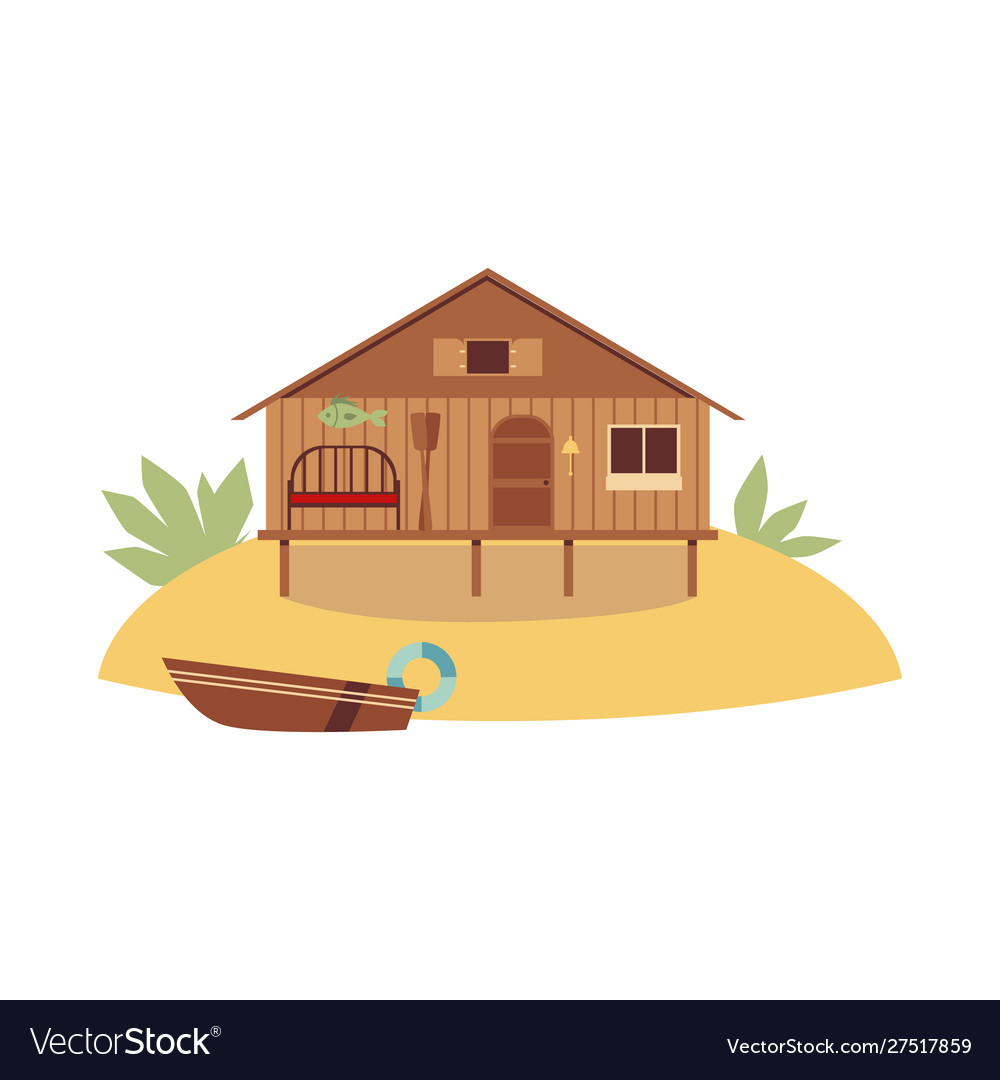Beach wooden house on ocean coast with boat flat