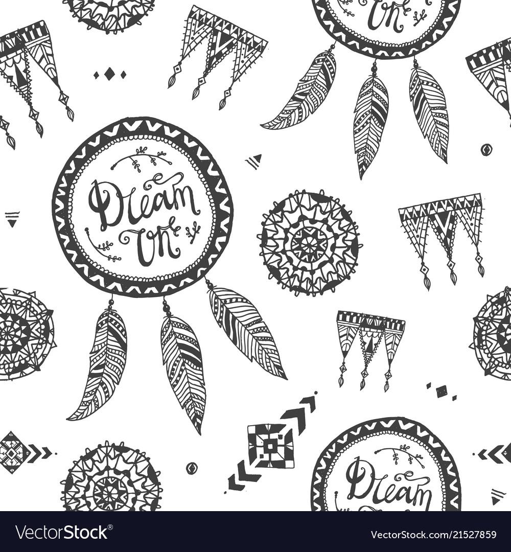 Boho style seamless pattern fabric