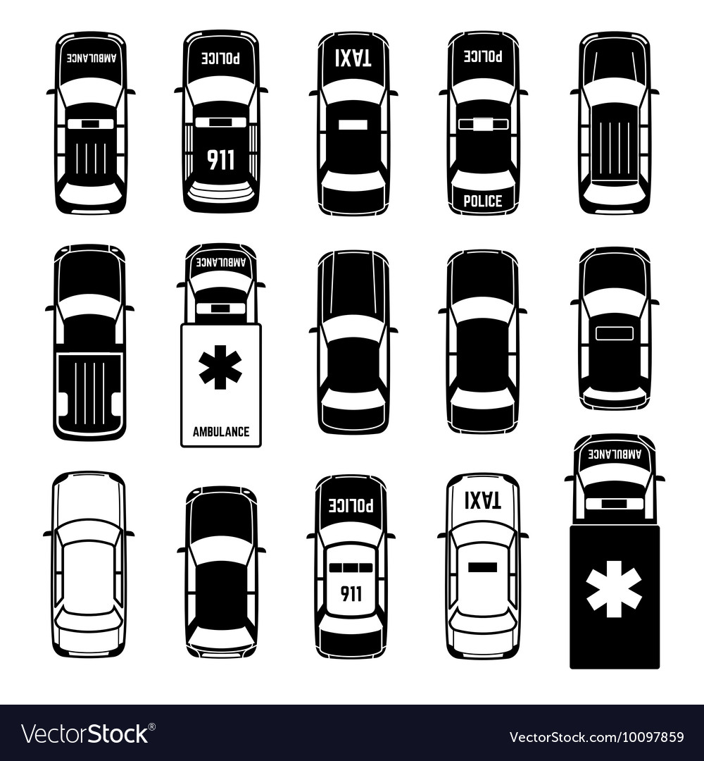 Car Top View Transportation Black Icons Royalty Free Vector