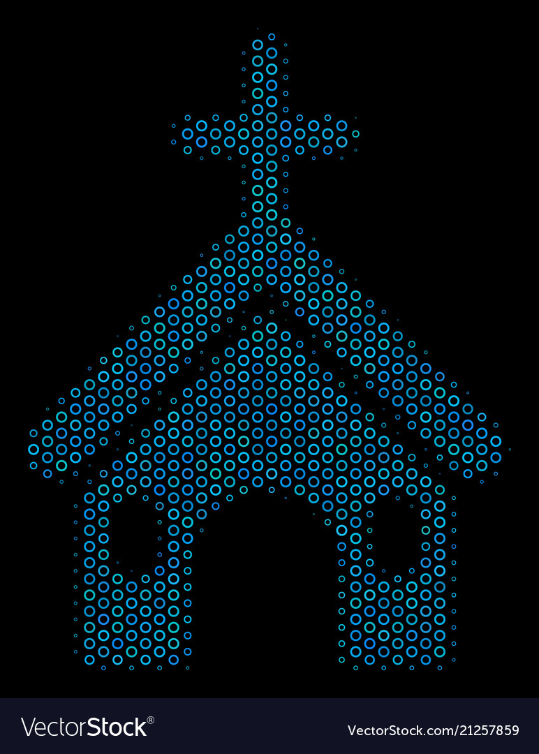 Christian church collage icon of halftone circles