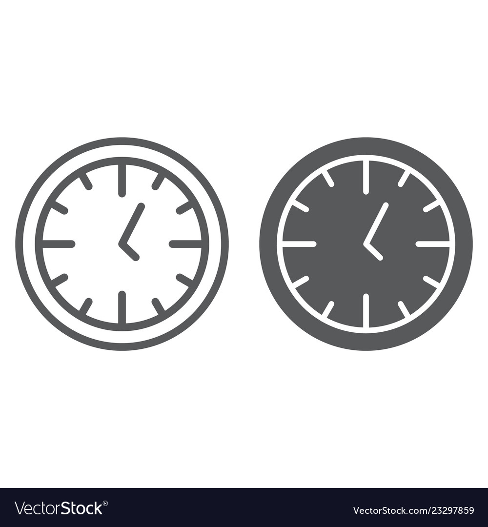 Clock line and glyph icon time and dial watch