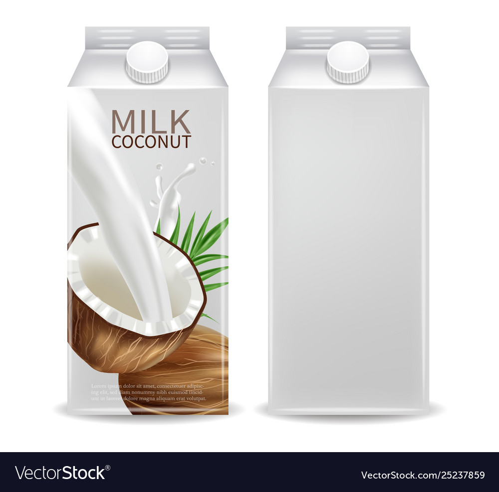 Coconut milk container realistic mock up