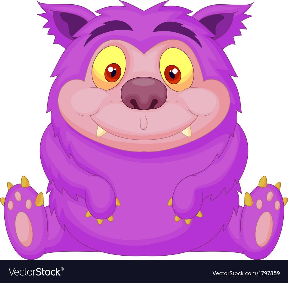 Cute purple monster cartoon vector image