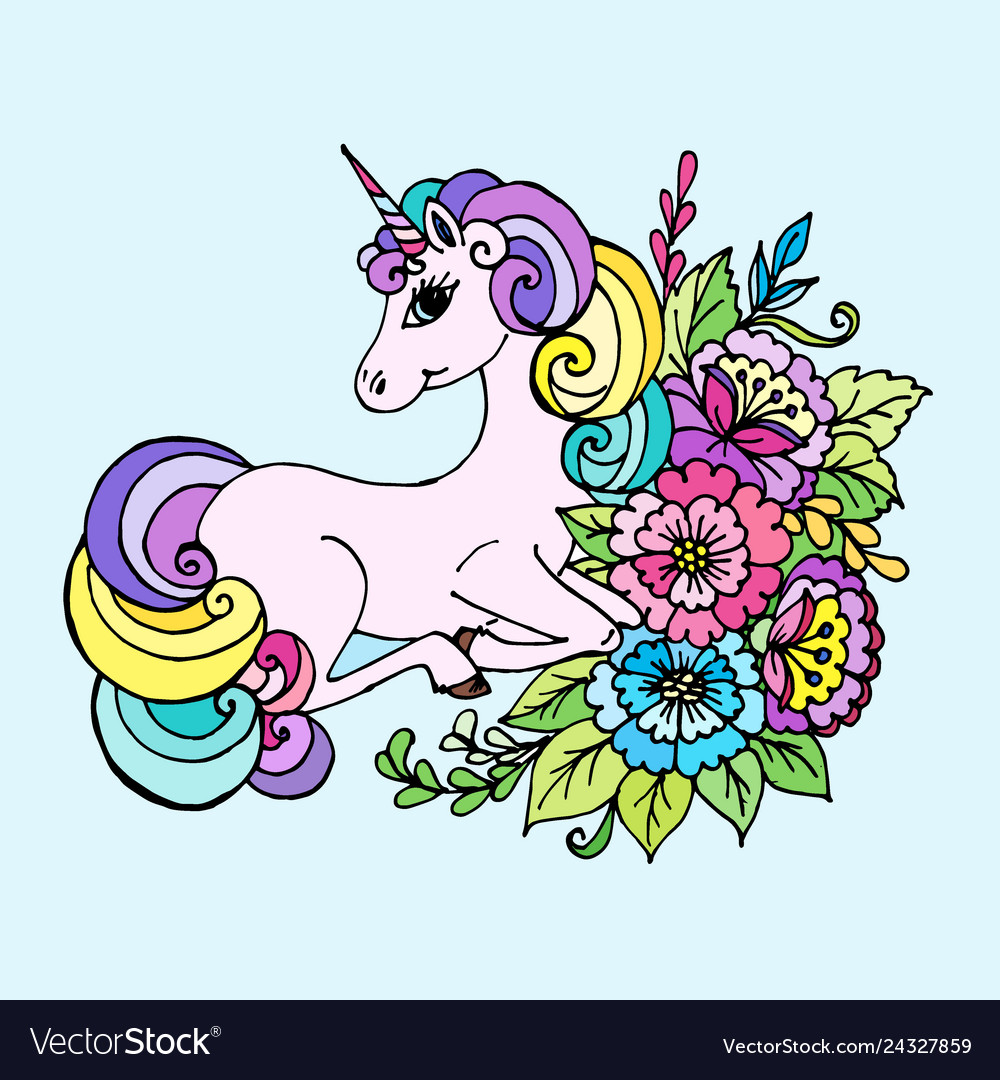 - Doodle Unicorn Lies In The Colors Royalty Free Vector Image