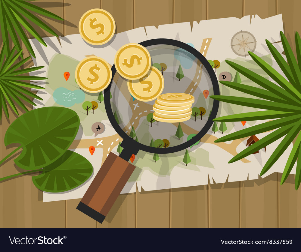 Find treasure hunt money map vector image