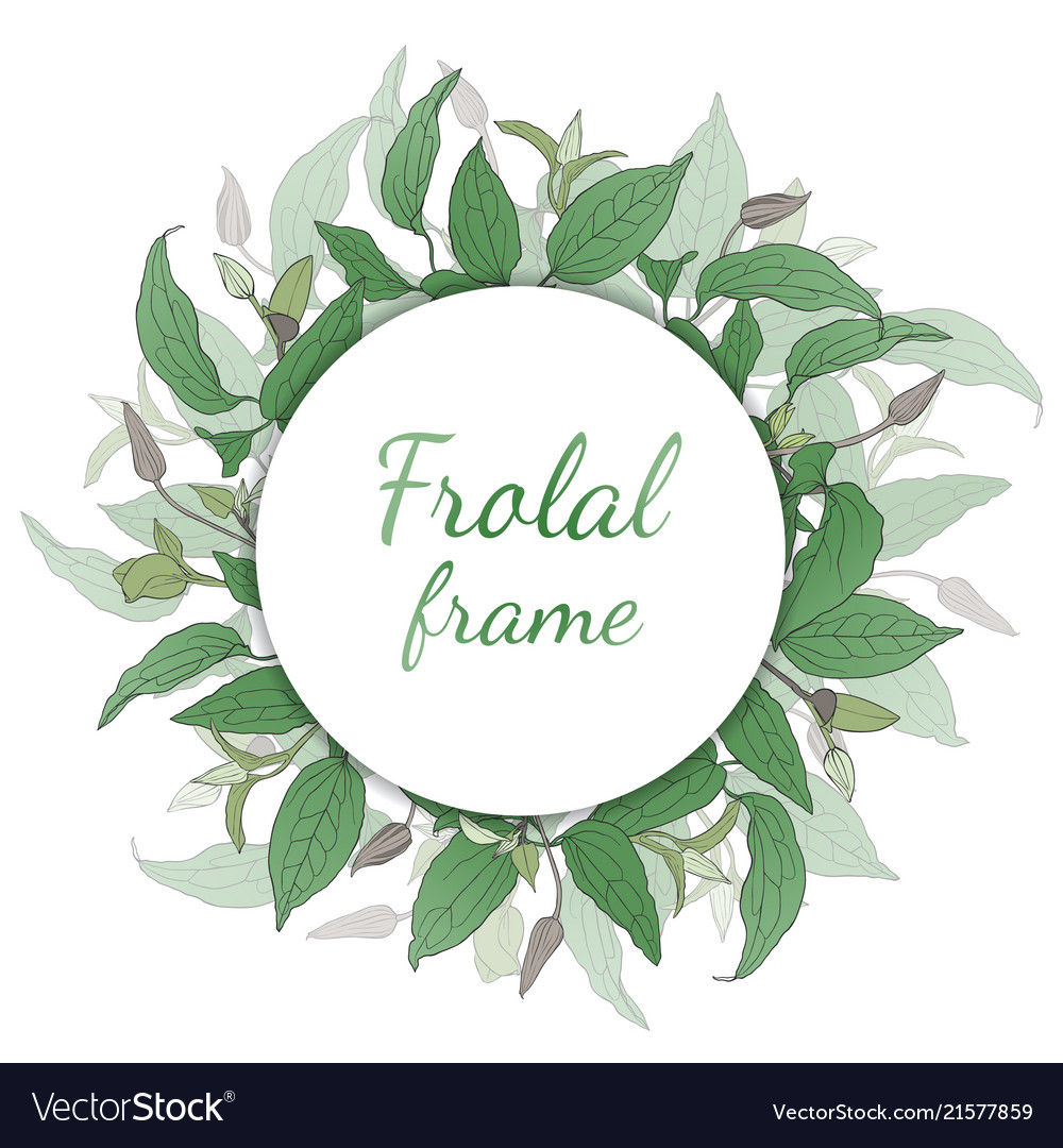 Floral wreath with green leaves