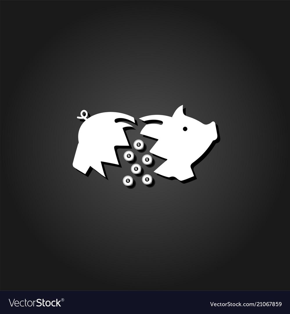 Piggy icon flat