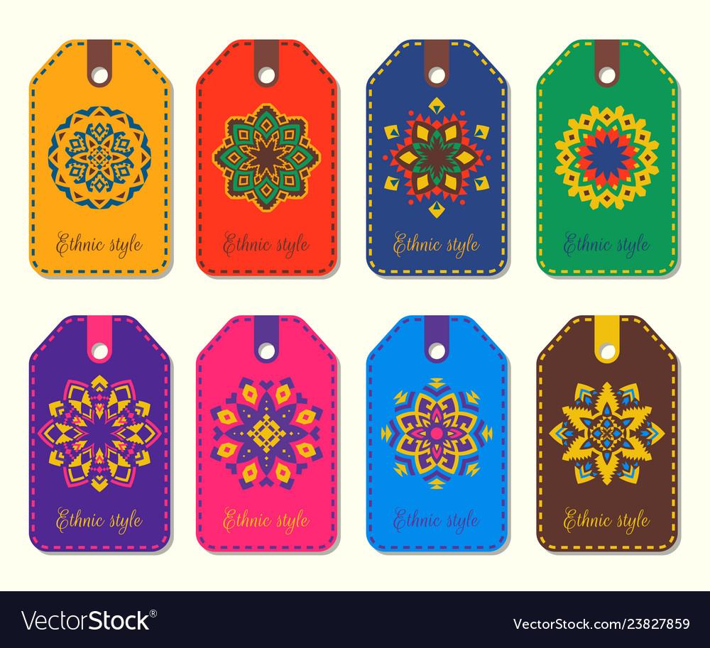 Set of ethnic template tags logos mandalas in