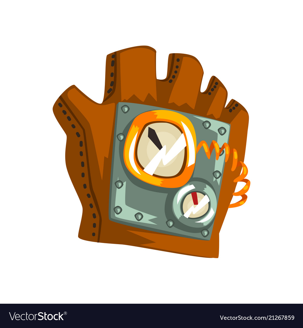 steampunk leather glove with measuring devices vector image