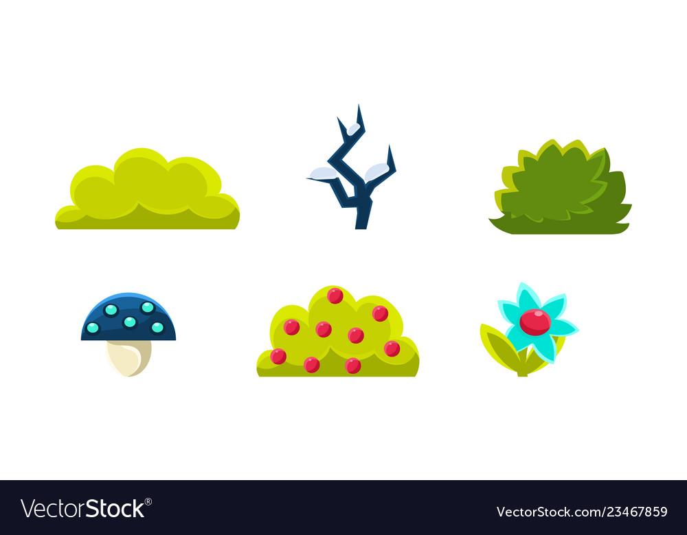Summer nature landscape elements set gaming
