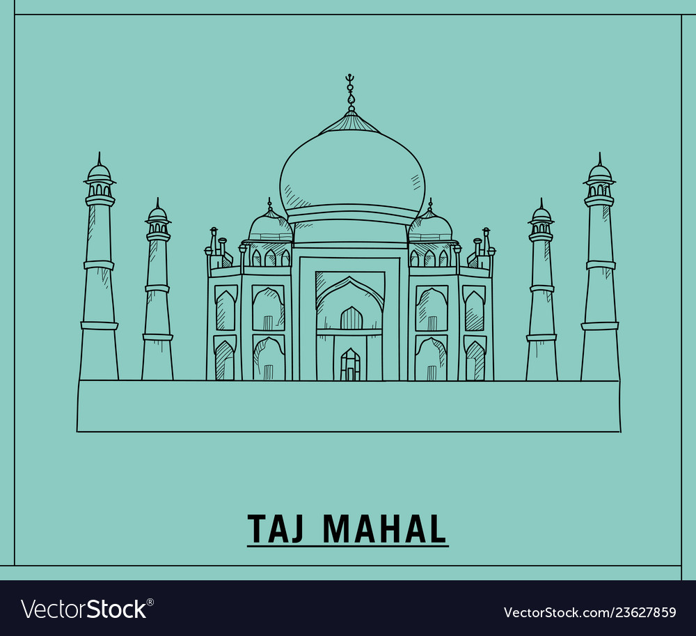 Taj mahalhand drawn sketch