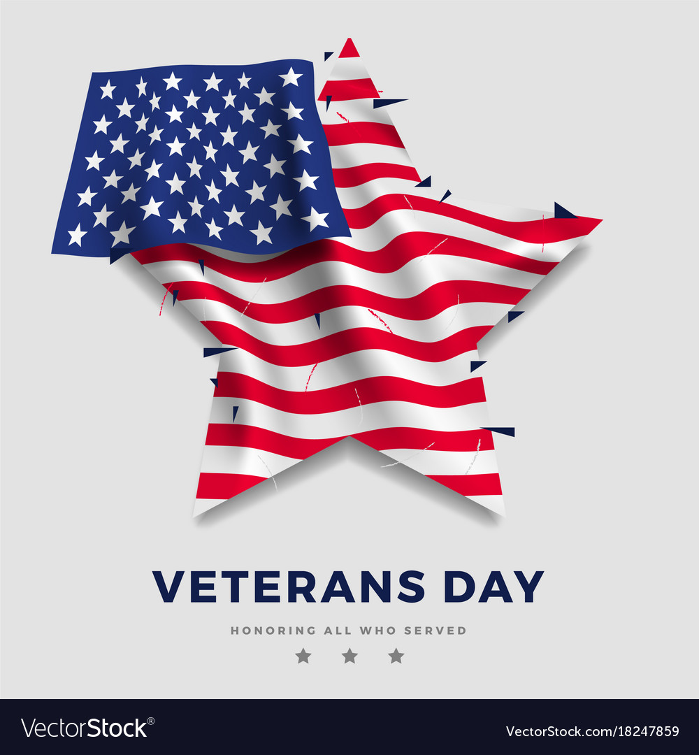 Veterans day poster realistic flag of america