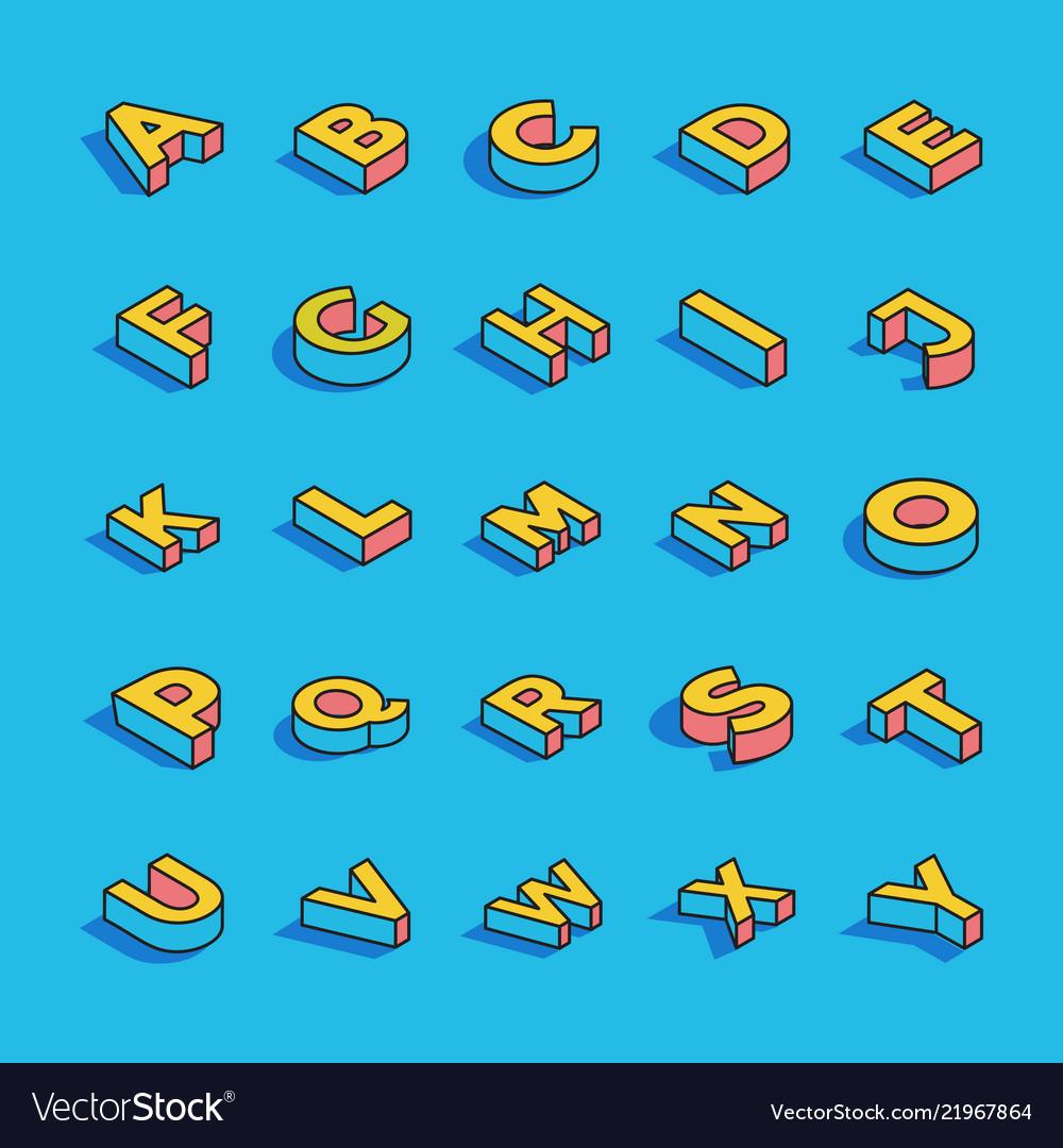 3d alphabet letters set vector image