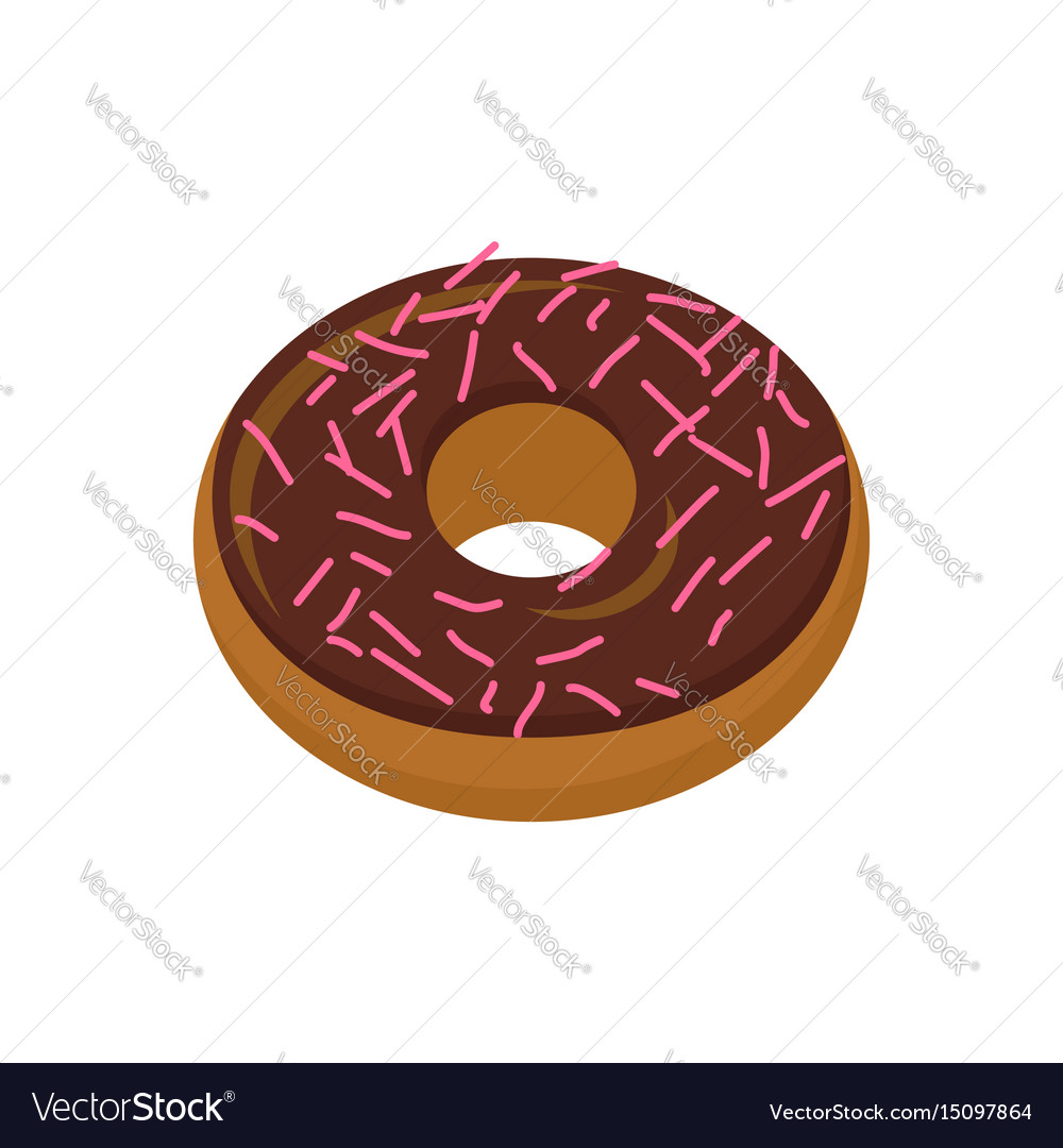 Chocolate donut isolated baking sweets on white
