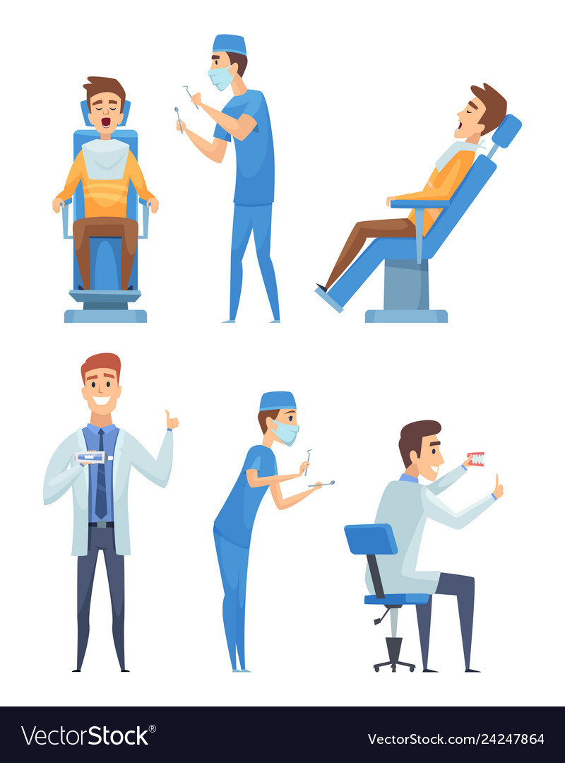Dentists characters stomatology medicine mouth