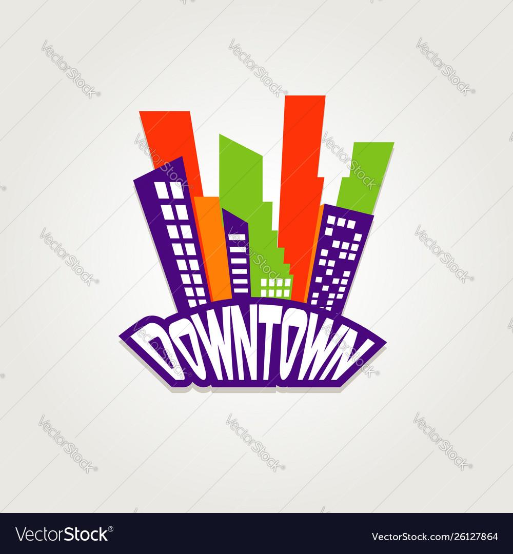 Downtown city logo symbol icon
