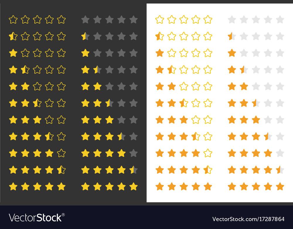 Five rating golden stars vector image