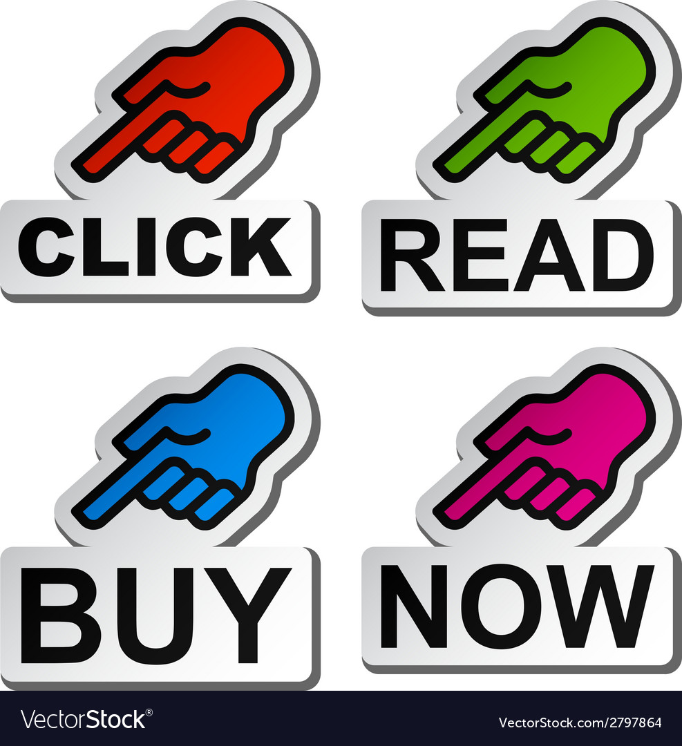 Hand pointing to the word stickers vector image