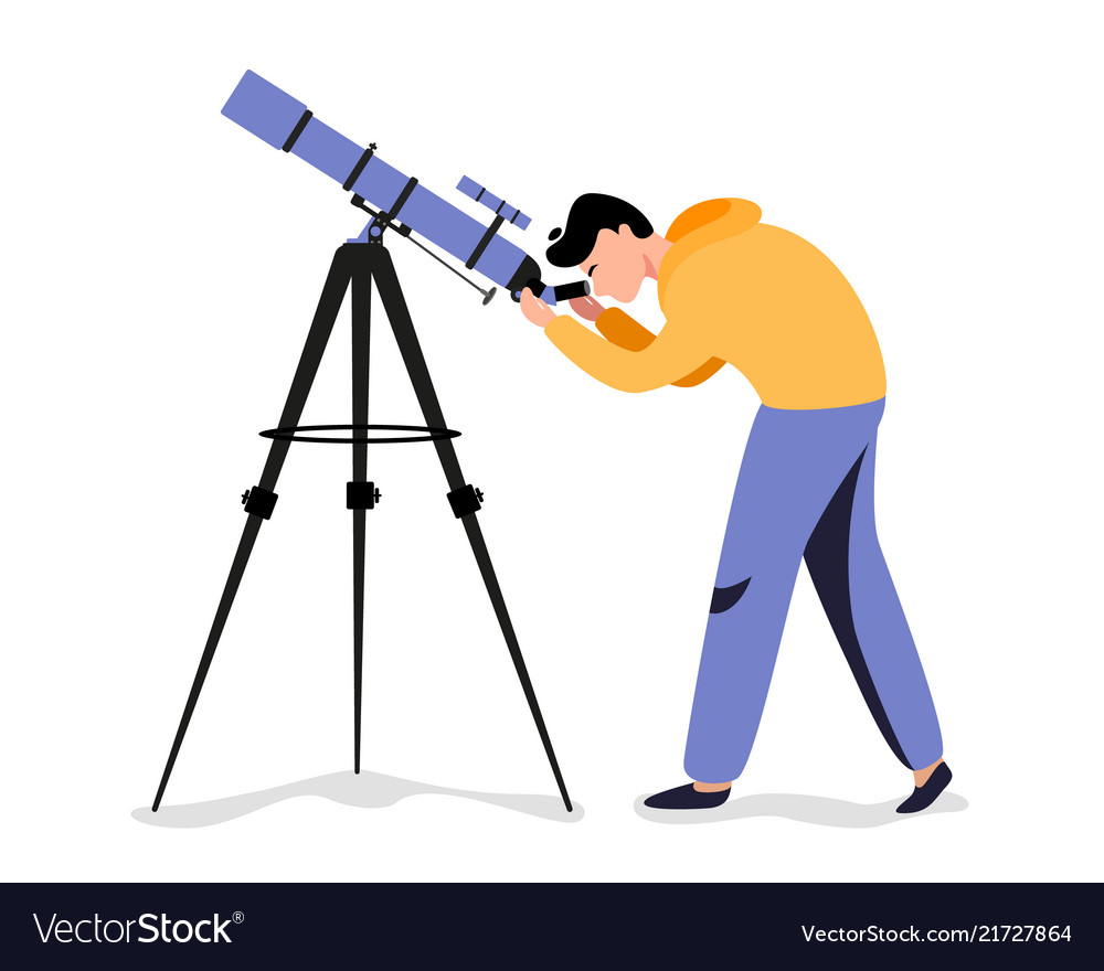 man with telescope in search of a star royalty free vector