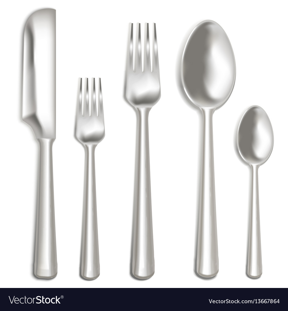 Realistic metal cutlery set vector image