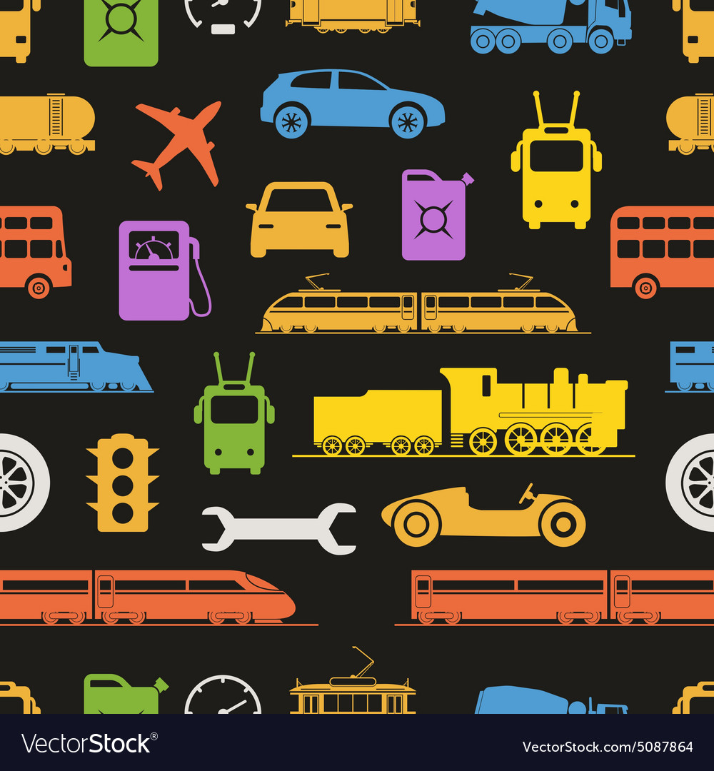 Vintage and modern vehicle color silhouettes