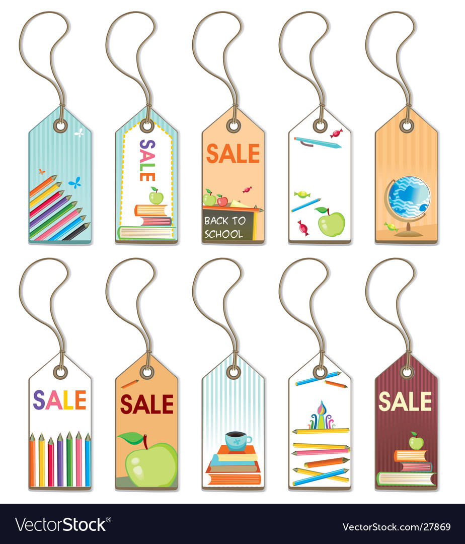 Back to school tags set