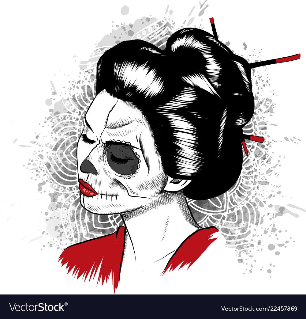 Black and white image japanese geisha