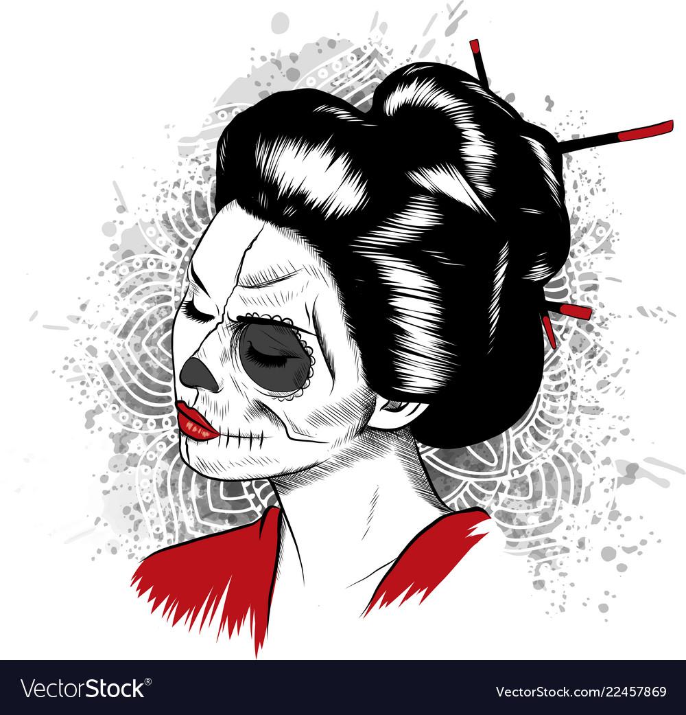 Black and white image of japanese geisha
