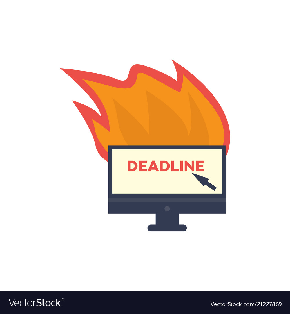 Burning office computer monitor deadline
