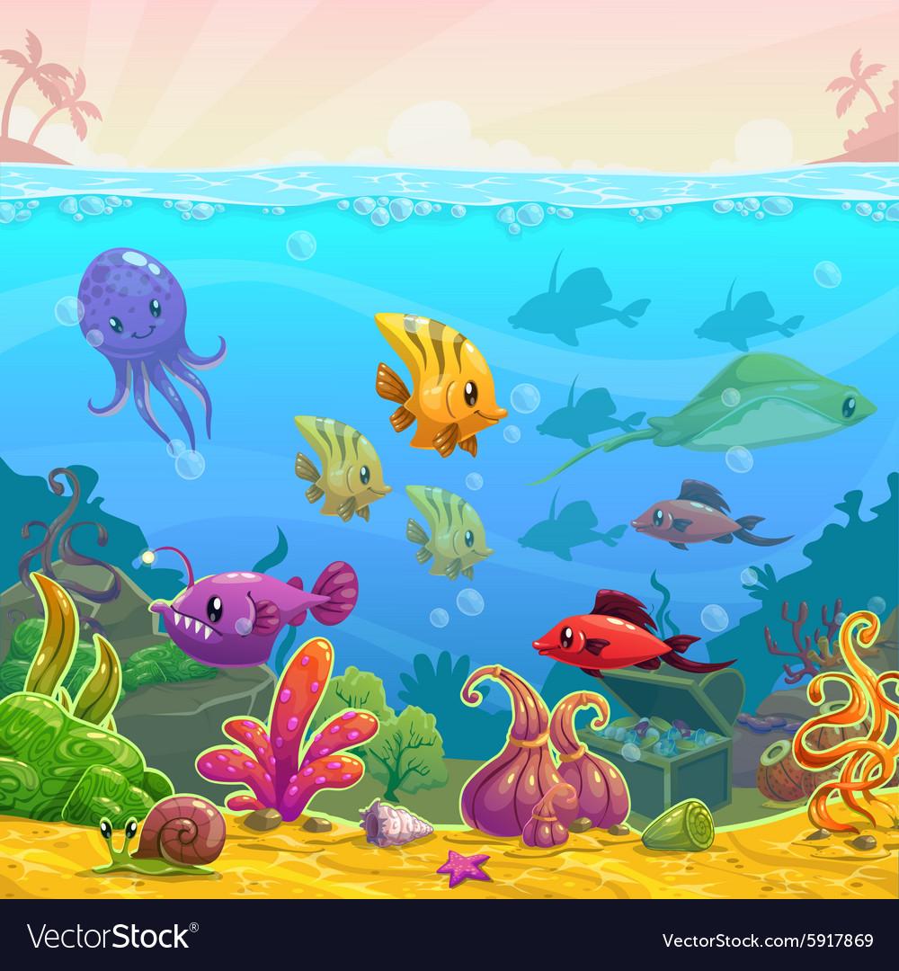 Funny cartoon underwater