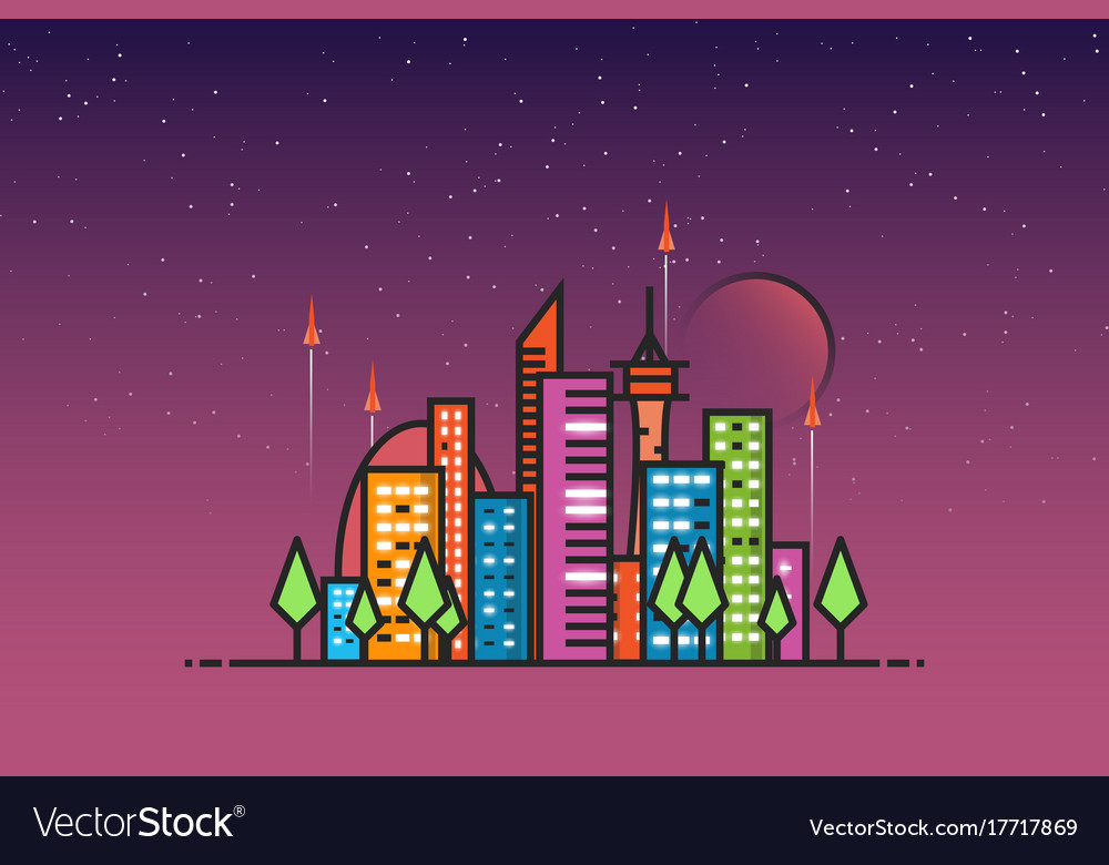 Futuristic city and rockets