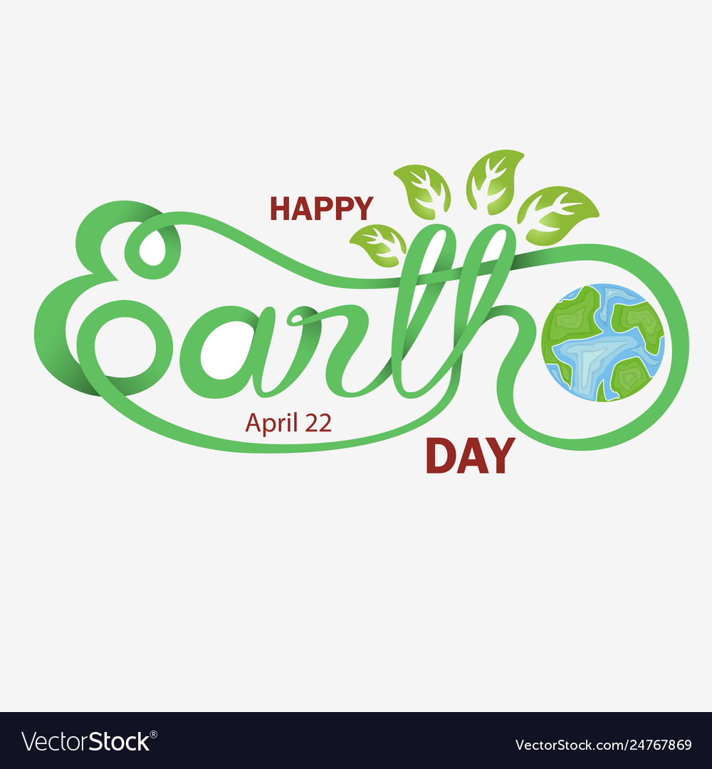 Green happy earth day typographical design