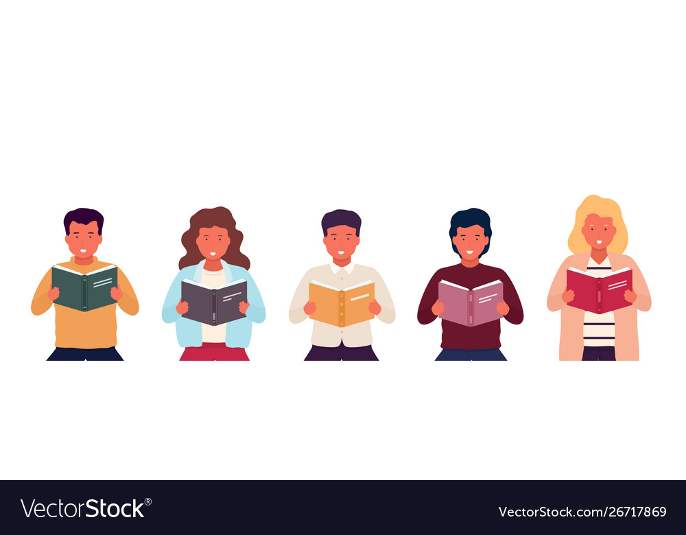 Group people reading books young stylish