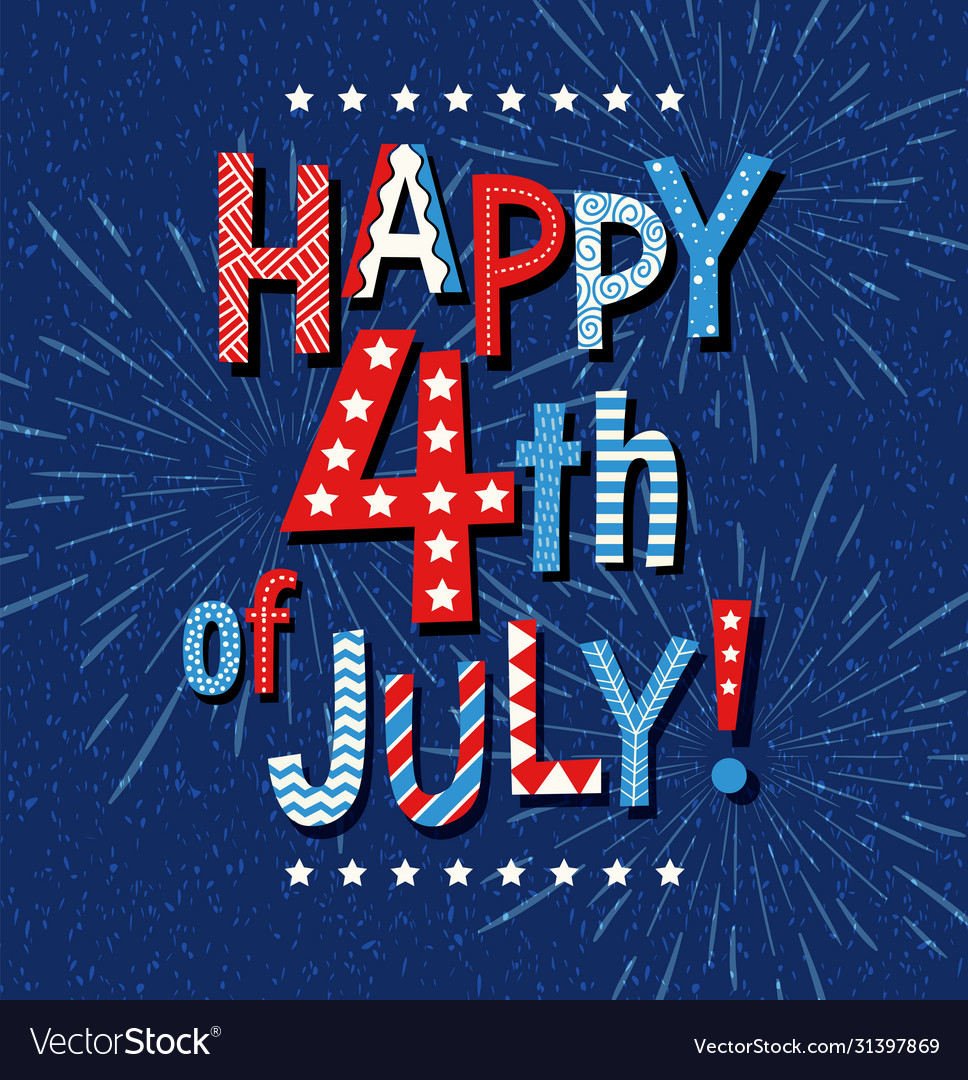 Happy 4th july doodle letters and fireworks