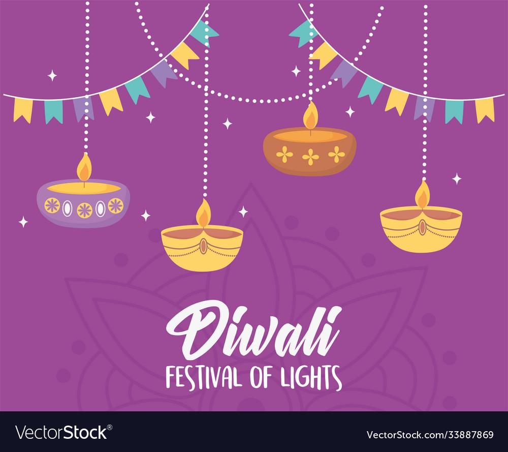 Happy diwali festival hanging diya lamps candles
